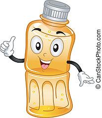 La mascota de jugo de botella