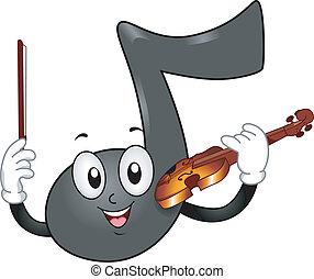 La mascota de la nota musical con violín