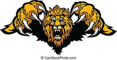 La mascota de león lanzando vector gráfico