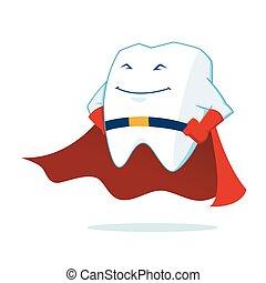 La mascota de los dientes de súper héroe