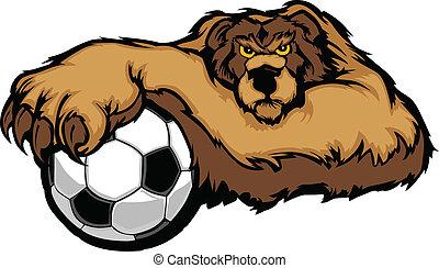 La mascota del oso con vector de pelota de fútbol