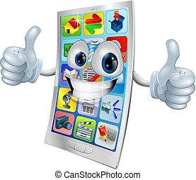 La mascota del teléfono móvil sonriente