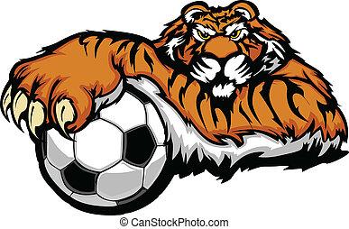 La mascota del tigre con vecto de pelota de fútbol