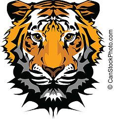 La mascota gráfica de la cabeza de tigre