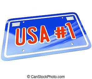 La matrícula número uno de Estados Unidos es azul blanco