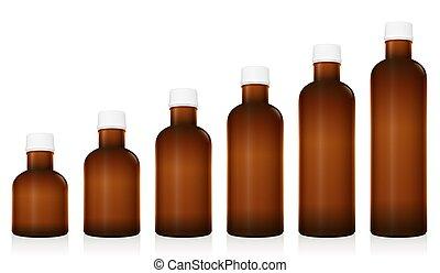 La medicina tiene diferentes tamaños de botellas farmacéuticas