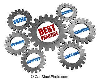 La mejor práctica: concepto de negocios en las ruedas grises plateadas