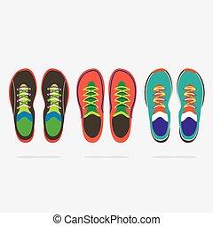 La mejor vista de la colorida ilustración de los zapatos de correr