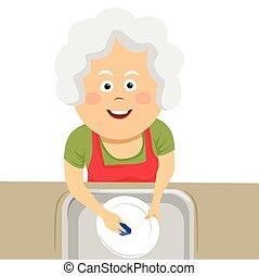 La mejor vista de una anciana limpiando los platos con una esponja