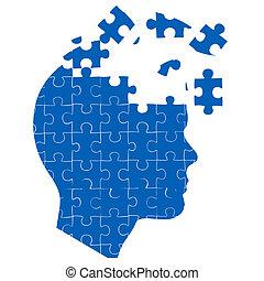 La mente del hombre con rompecabezas