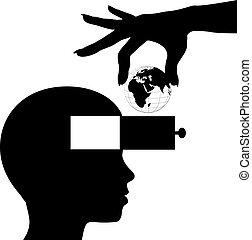La mente estudiantil aprende educación del conocimiento mundial