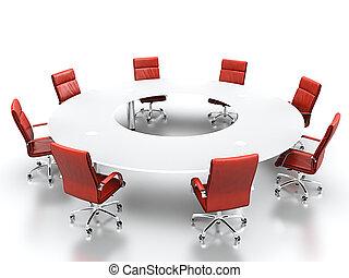 La mesa de conferencias.