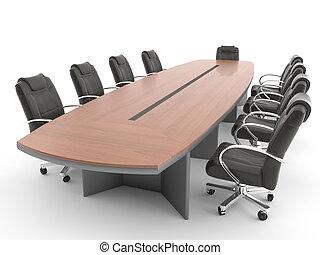 La mesa de encuentro está aislada en blanco