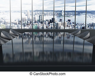 La mesa de juntas con antecedentes. Ilustración 3D.