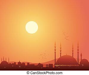 La mezquita al atardecer
