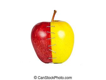 La mitad de la manzana contrasta
