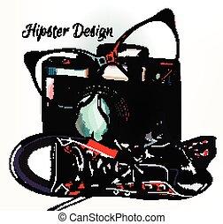 La moda de fondo de hipster con cámara vieja y zapatillas de deporte ser hip.eps