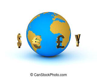 La moneda alrededor del planeta Tierra