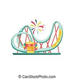 La montaña rusa y la boleta pequeña. Una atracción de feria extrema. Equipo de parque de atracciones. Diseño vectorial plano