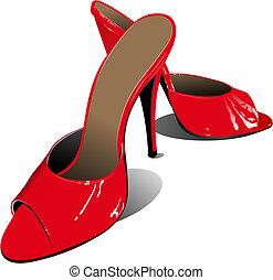 La mujer de la moda zapatos rojos. Ilustración del vector