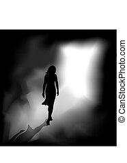 La mujer de la oscuridad es a la luz.