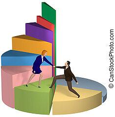 La mujer de negocios ayuda a los hombres de negocios a subir la carta