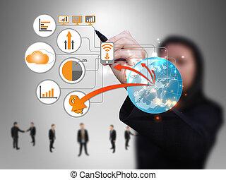 La mujer de negocios diseña la red de tecnología