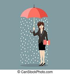 La mujer de negocios está mojada por la lluvia en vez de eso sostiene un paraguas