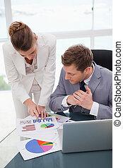 La mujer de negocios explica los resultados de la investigación