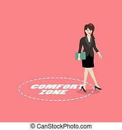 La mujer de negocios sale de la zona de confort