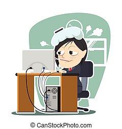 La mujer de negocios tiene fiebre en el trabajo