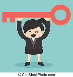 La mujer de negocios tiene una llave de éxito