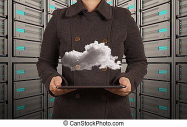 La mujer de negocios trabaja en tecnología moderna y en la red de nubes
