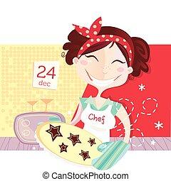 La mujer está haciendo galletas de Navidad