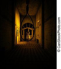 La mujer está intentando sobrevivir en la casa embrujada