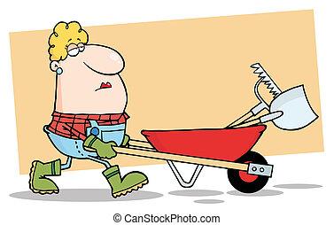 La mujer jardinero conduce una carretilla