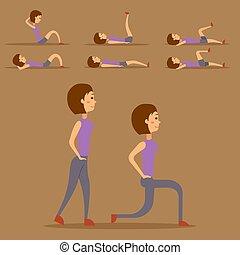 La mujer joven está ejercitando en el carácter de su hogar el ejercicio de la vida saludable y la ilustración del vector de vectores de dieta.