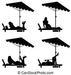 La mujer se relaja en la ilustración de la silla de cubierta de negro