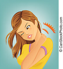 La mujer sufre de dolor de cuello
