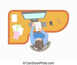 La mujer trabaja en la oficina y comprueba notas en la casa
