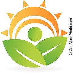 La naturaleza de la salud anula el logotipo de energía