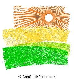 La naturaleza del paisaje con campos y sol en el cielo.