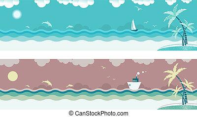 La naturaleza navega con olas de mar y palmas en la isla. Estandartes del vector