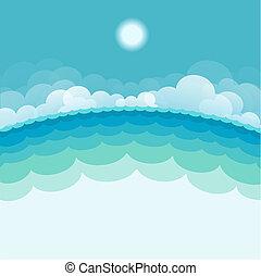 La naturaleza oculta fondo con mar y sol. Ilustración azul del vector