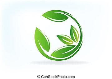 La naturaleza sanitaria hoja de vector de logo