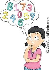 La niña piensa en números