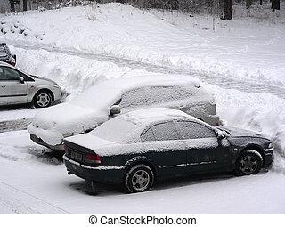 La nieve cubría autos