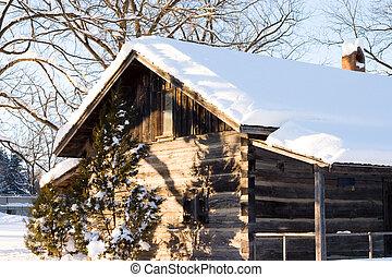 La nieve cubrió la cabaña