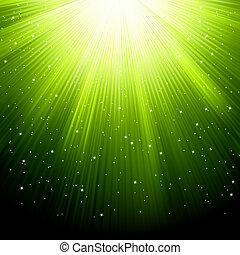 La nieve y las estrellas caen en los rayos verdes. EPS 8