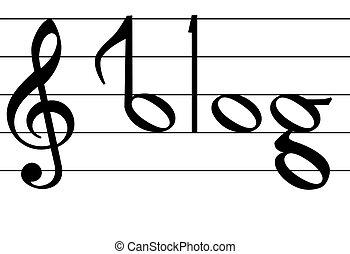 La nota de música simboliza el diseño de la palabra blog